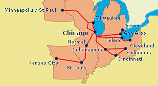 Megabus Midwestern Routes